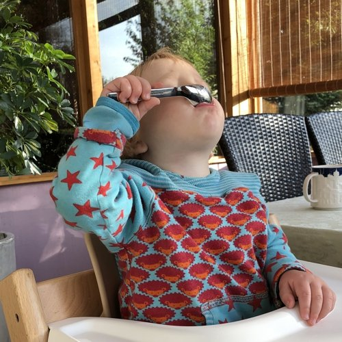 Puresigns ONE Topis Babybesteck Gebogener L/öffel Edelstahl Poliert Rosa 2-teilig